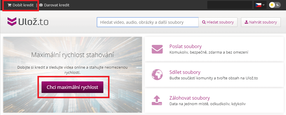 Jak dobít kredit na Uložto_cz